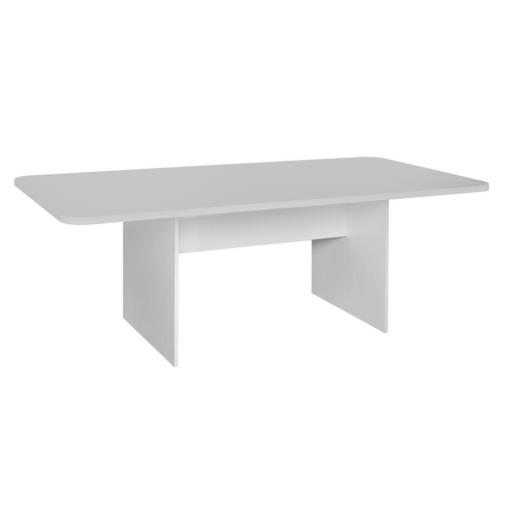 Niche Mod White Wood Grain No Tools Assembly 7 ft. Conference Table ...