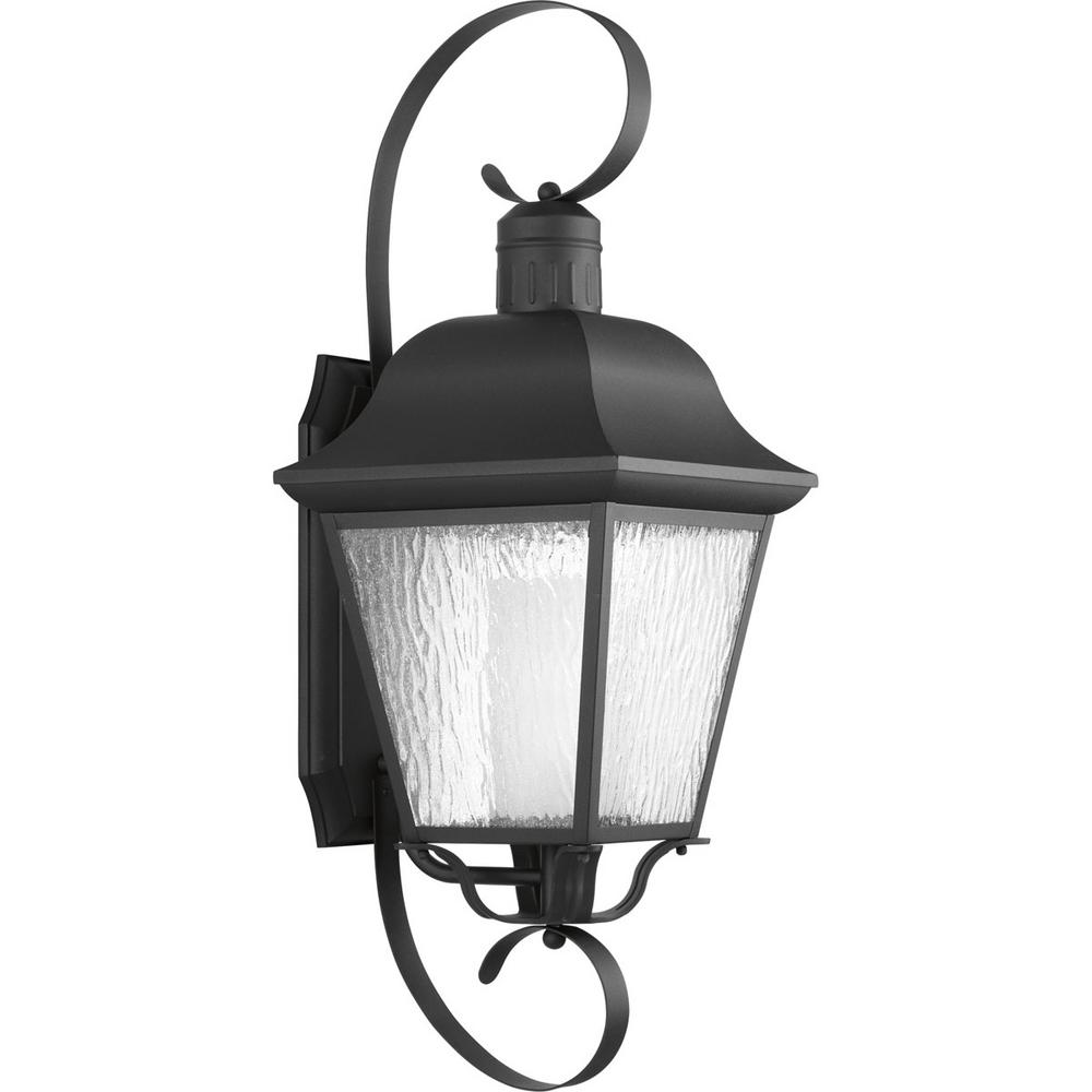 Progress Lighting Andover Collection 1-Light 34.4 in. Outdoor Black Wall Lantern Sconce