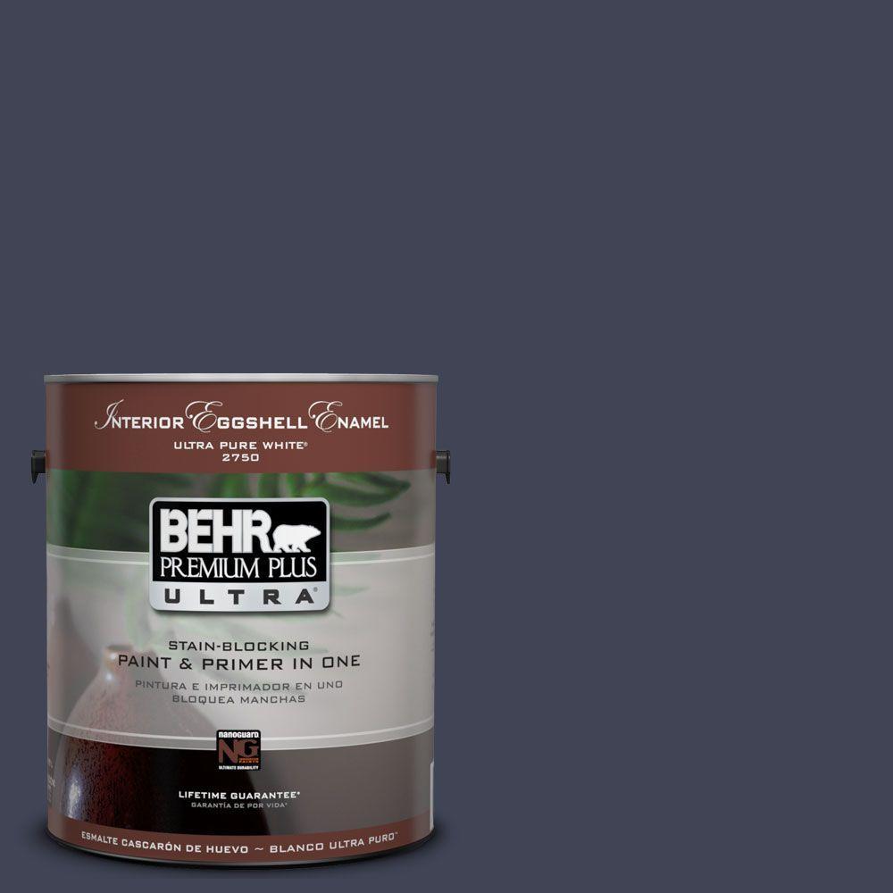 BEHR Premium Plus Ultra 1-Gal. #UL240-1 Black Sapphire Interior Eggshell Enamel Paint