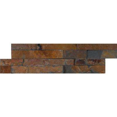 Gold Rush Mini Ledger Panel 4.5 in. x 16 in. Natural Slate Wall Tile (5 sq. ft. / case)