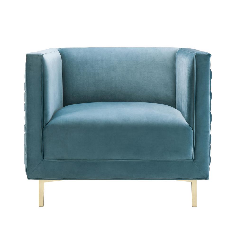 Tov Furniture Sal Sea Blue Velvet Woven Chair