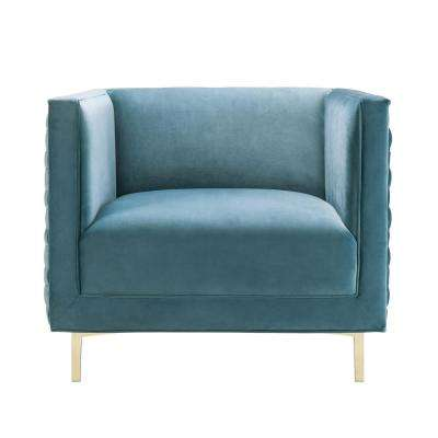 Sal Sea Blue Velvet Woven Chair