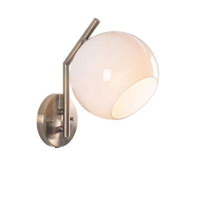 Simon Antique Brass Finish with White Glass Shade Sconce