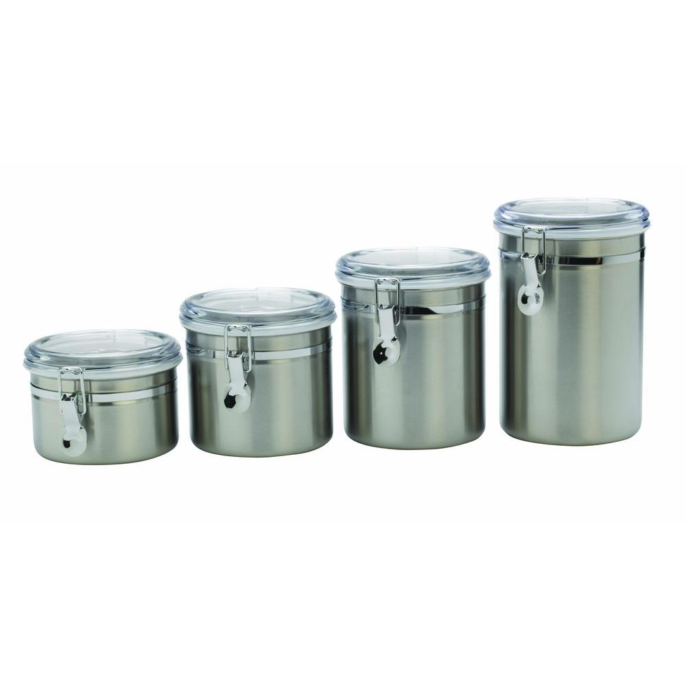 CLEAR LID CANISTER Set 4 Piece Stainless Steel Kitchen Storage