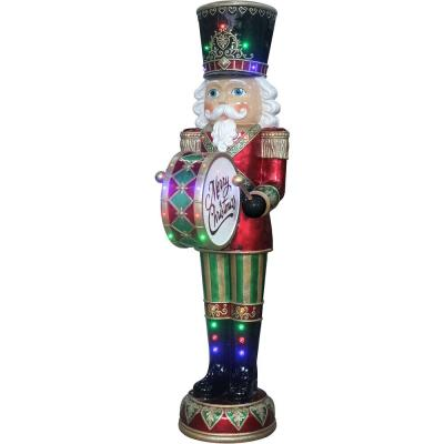 72 in. Christmas Nutcracker Playing Bass Drum with Moving Hands, Music, Timer and 32 LED Lights