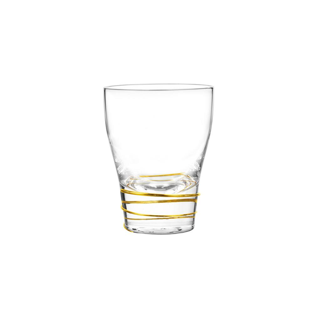 Helix Gold 12 oz. Double Old Fashioned Glass (4-Piece Set)
