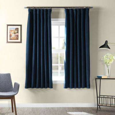 Signature Midnight Blue Blackout Velvet Curtain - 50 in. W x 63 in. L