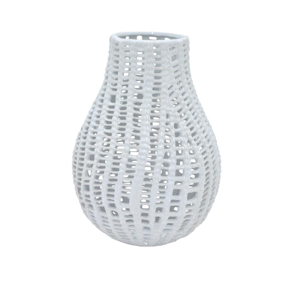 Three Hands Decorative White Ceramic Pierced Vase With Glossy