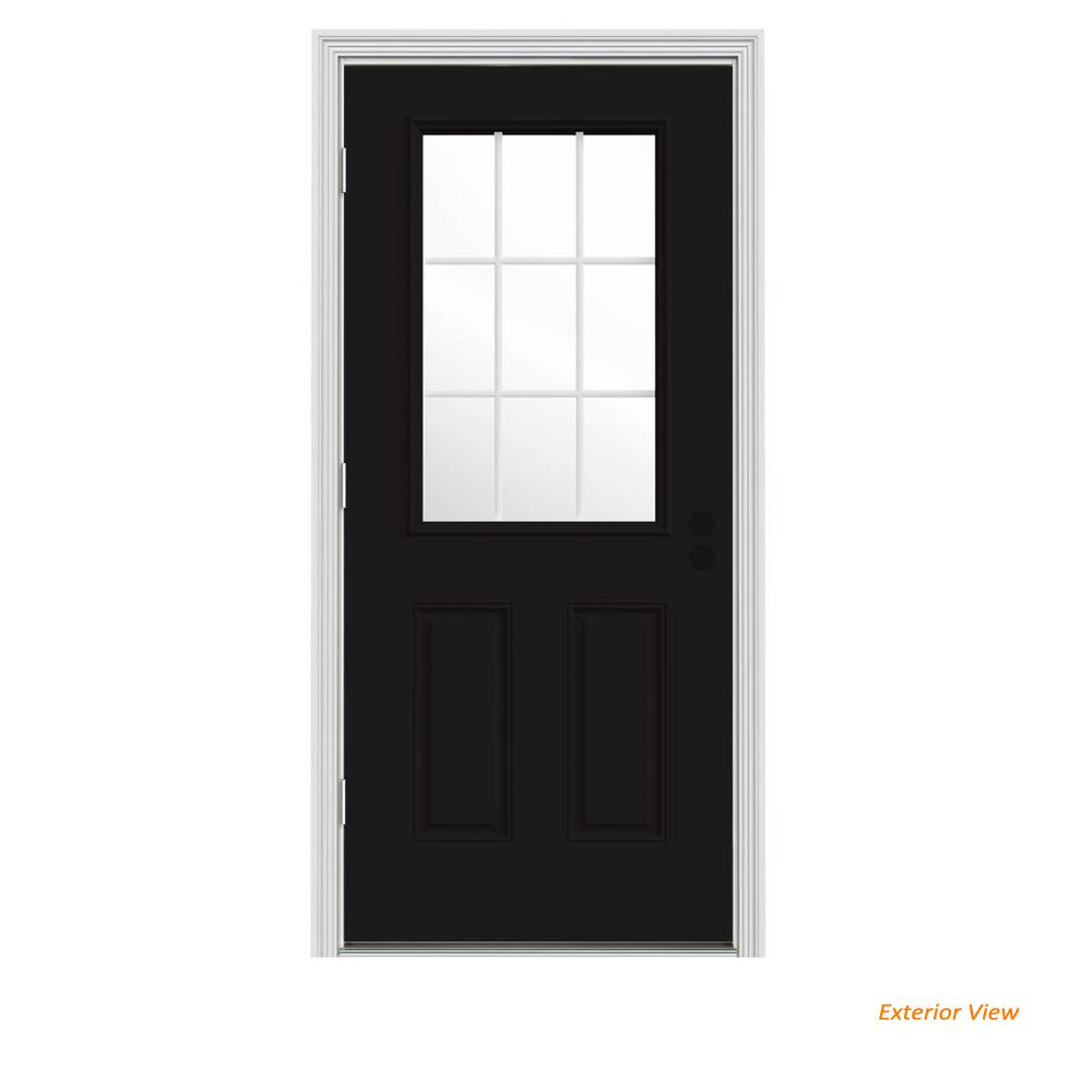 JELD-WEN 36 in  x 80 in  9 Lite Black Painted w/ White Interior Steel  Prehung Right-Hand Outswing Front Door w/Brickmould