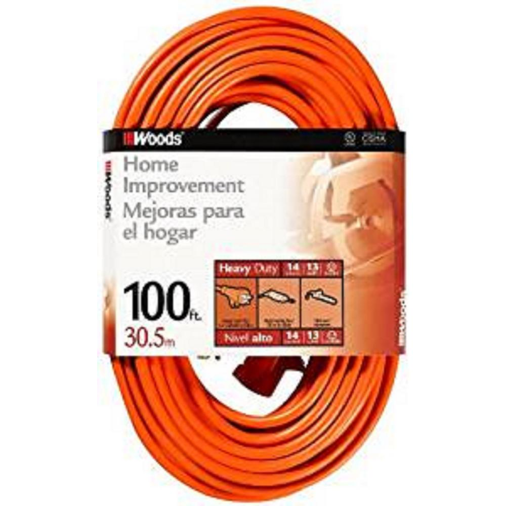 Woods 100 ft. 14/3 SJTW Orange Medium-Duty Extension Cord