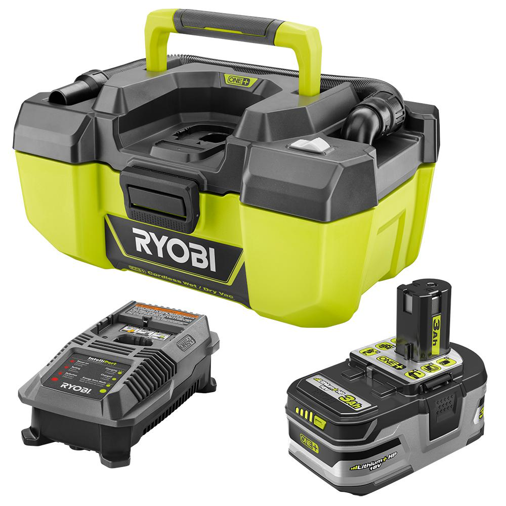 RYOBI RYOBI 18-Volt ONE+ Lithium-Ion Cordless 3 Gal. Project Wet/Dry Vac with Accessory Storage Kit with 3.0 Ah Battery, and Charger, Greens