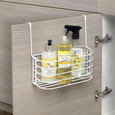 Spectrum Duo 11 in. x 11.25 in. x 7.25 in. Steel Over the Cabinet Medium Basket and Towel Bar in White