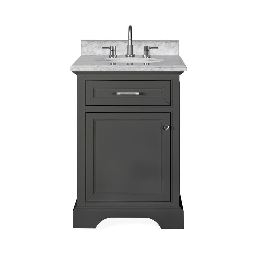 Windlowe 25 in. W x 22 in. D x 35 in. H Bath Vanity in Gray with Carrara Marble Vanity Top in White with White Sink