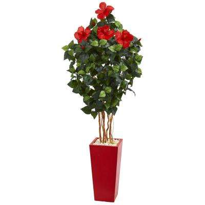 5.5 ft. High Indoor Hibiscus Artificial Tree in Red Tower Planter