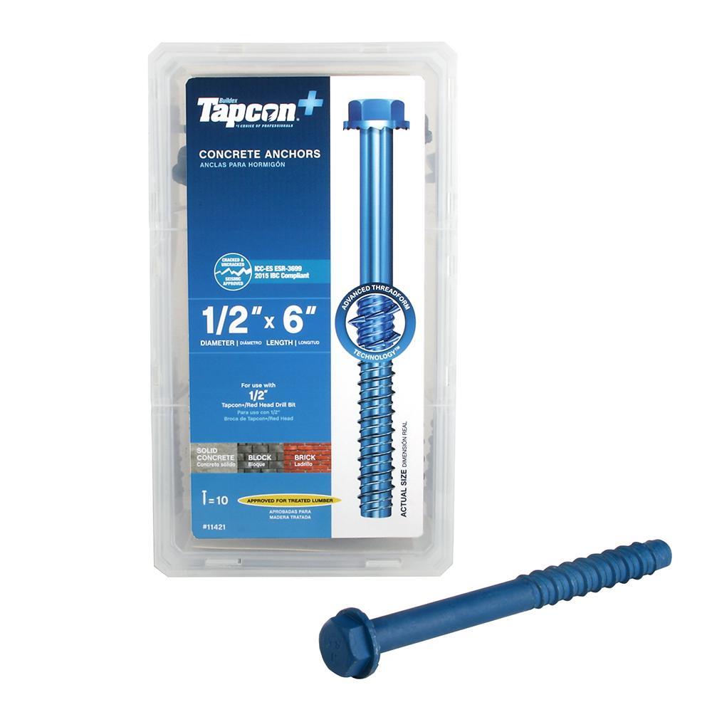 Tapcon 1/2 in. x 6 in. Steel Hex-Washer-Head Indoor/Outdoor Concrete Anchors (10-Pack)