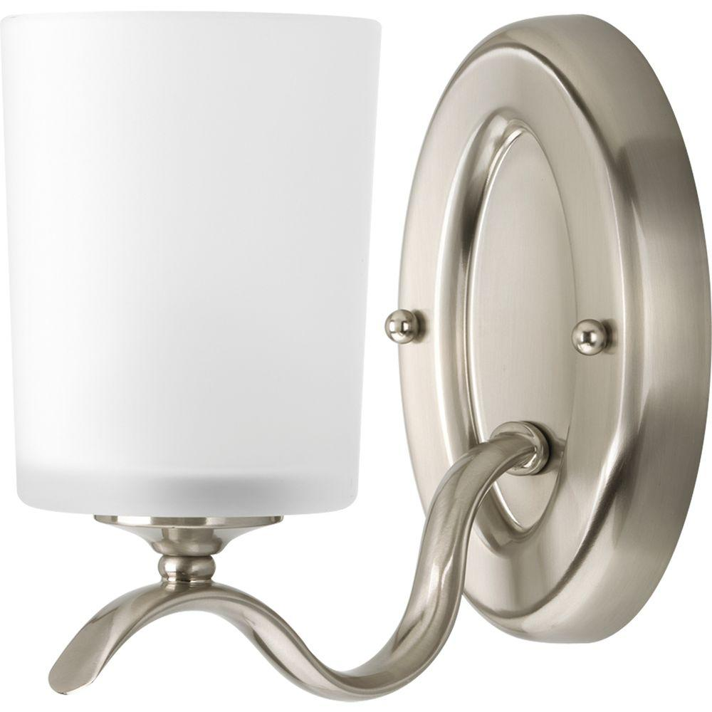 Progress Lighting Inspire Collection 1-Light Brushed Nickel Bath Sconce with Etched Glass Shade