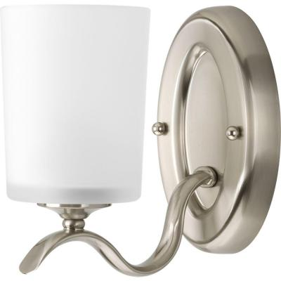 Inspire Collection 1-Light Brushed Nickel Bath Sconce with Etched Glass Shade