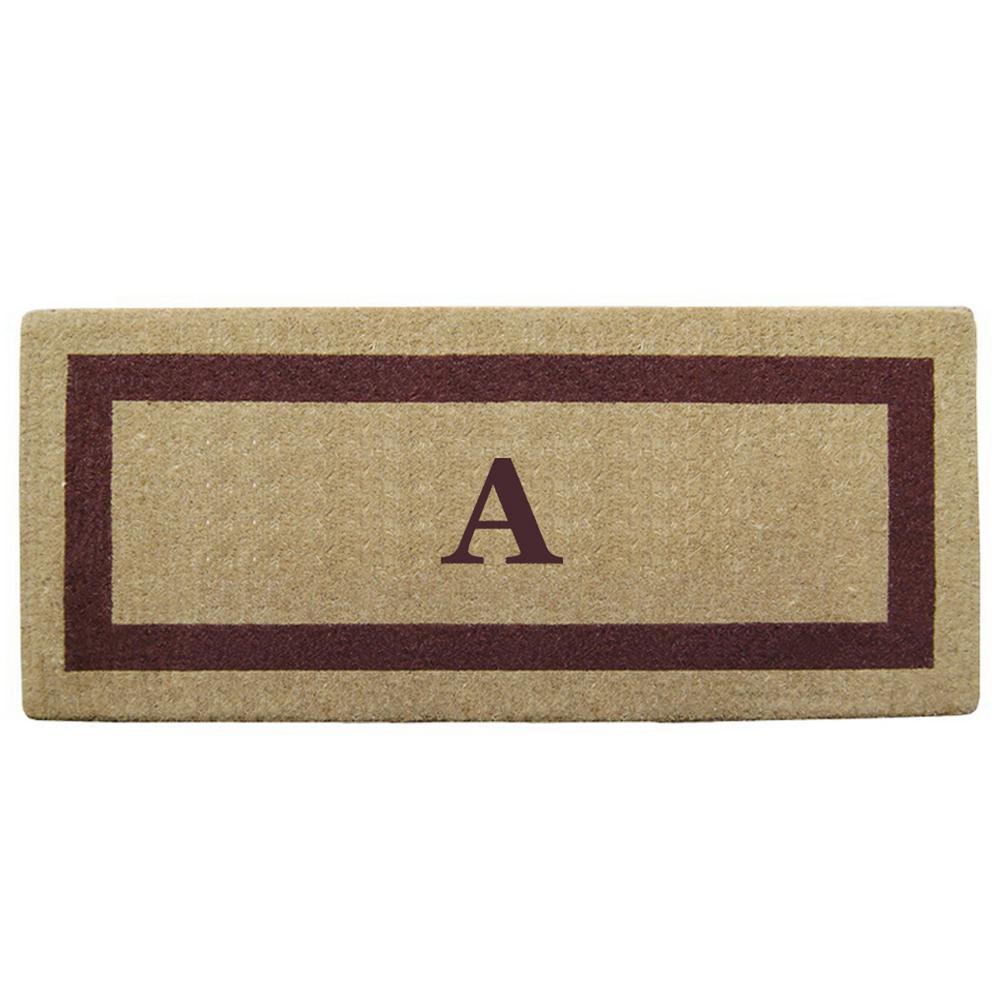 Single Picture Frame Brown 24 in. x 57 in. Heavy Duty Coir Monogrammed A Door Mat