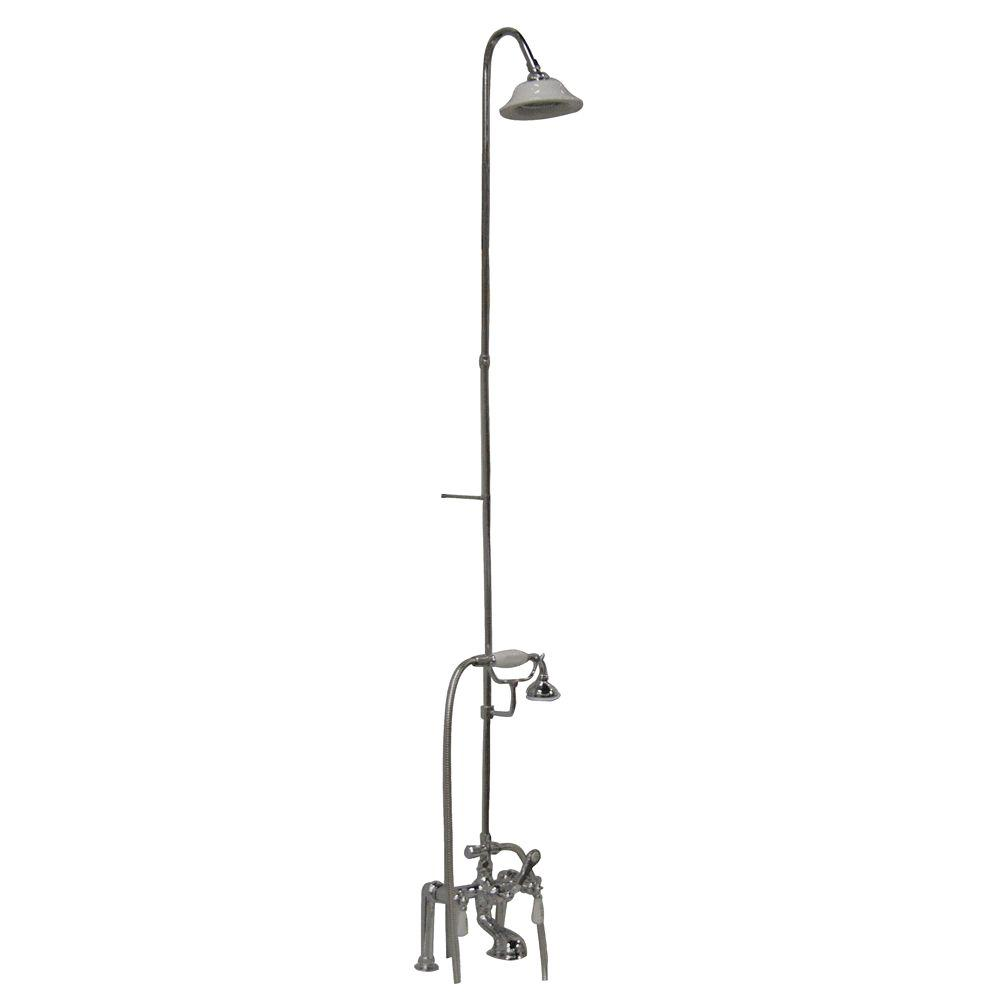 3-Handle Claw Foot Tub Faucet with Riser, Hand Shower and Showerhead