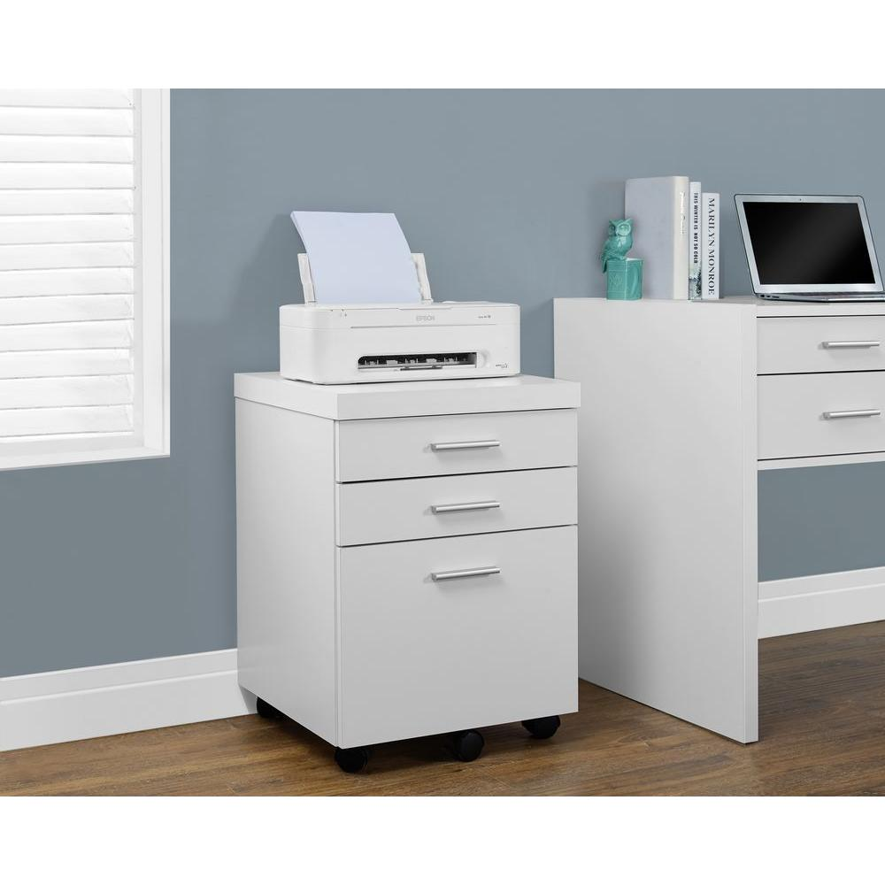Monarch Specialties Hollow Core White File Cabinet