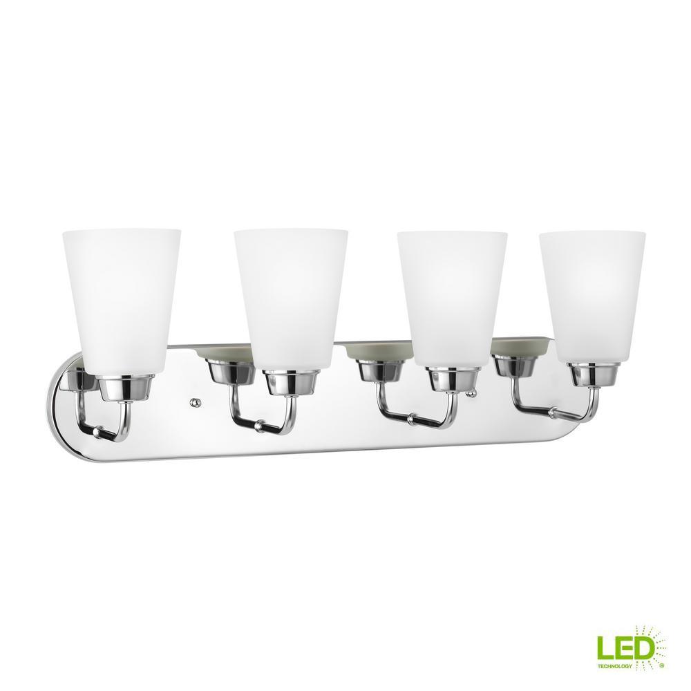 Sea Gull Lighting Kerrville 4-Light Chrome Bath Light with LED Bulbs
