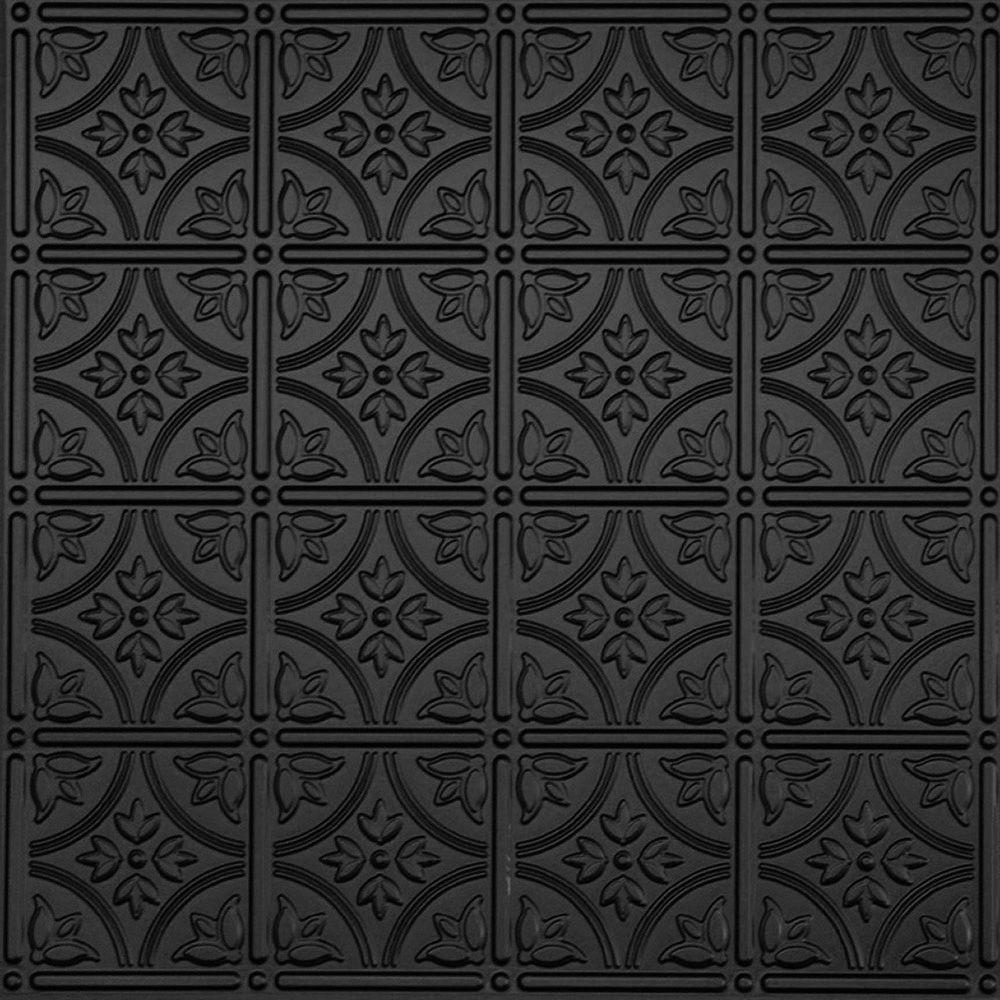Global specialty products dimensions 2 ft x 2 ft matte black tin global specialty products dimensions 2 ft x 2 ft matte black tin ceiling tile for refacing in t grid systems 209 16 the home depot doublecrazyfo Images