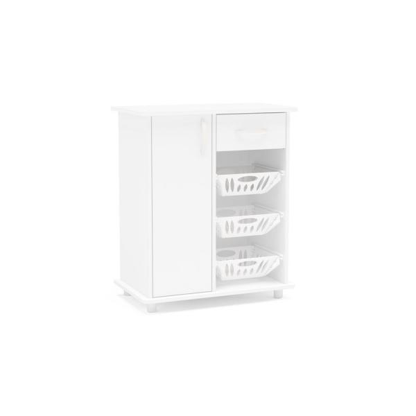 Morris White Compact Cabinet with 3-Baskets