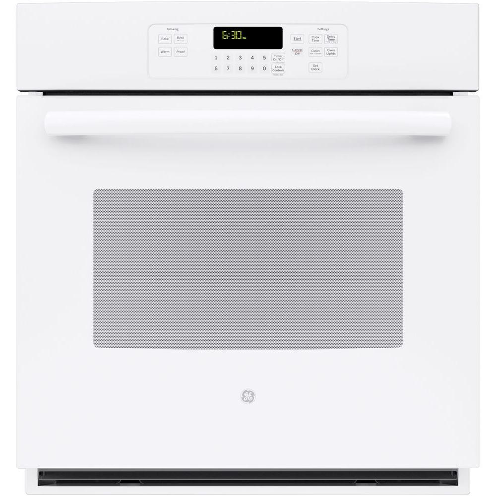 GE 27 in. Single Electric Wall Oven Self-Cleaning with Steam in White