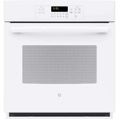 27 in. Single Electric Wall Oven Self-Cleaning with Steam in White