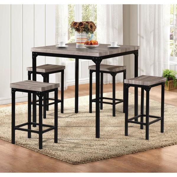 Benzara Brown and Black 4- Stool with a Table Dining Set