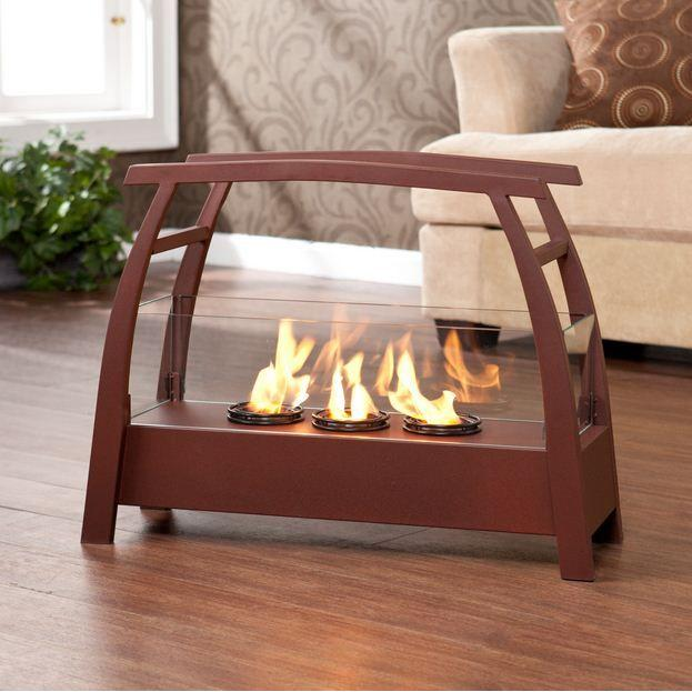 Southern Enterprises Nelson 27 in. Portable Indoor/Outdoor Gel Fuel Fireplace in Rust Red-DISCONTINUED