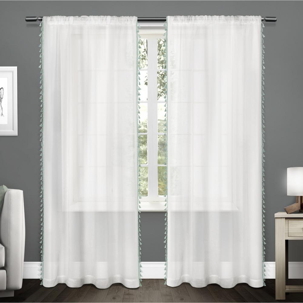 Tassels 54 in. W x 84 in. L Sheer Rod Pocket Top Curtain Panel in Seafoam (2 Panels)