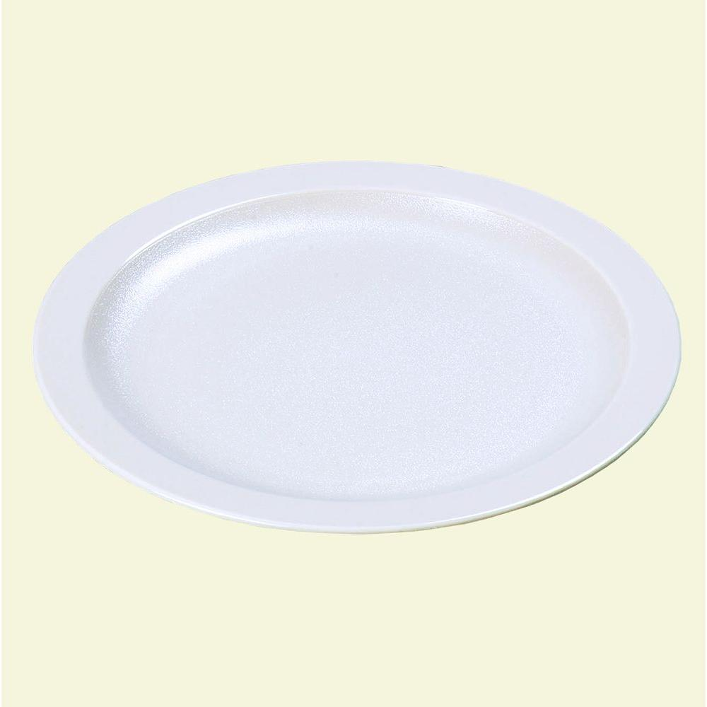 10.0 in. Diameter Polycarbonate Narrow Rim Commercial Dinnerware Plate in White