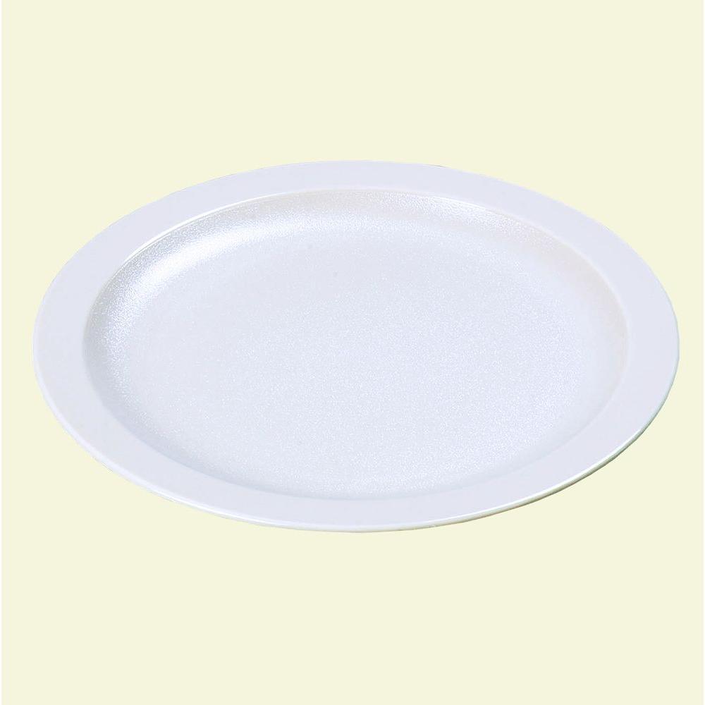 10.0 in. Diameter Polycarbonate Narrow Rim Commercial Dinnerware Plate in White