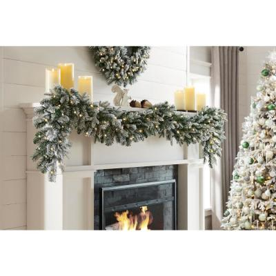 9 ft Starry Light Battery Operated Flocked Frasier Fir LED Pre-Lit Garland with Timer