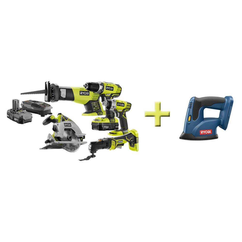 Ryobi One+ 18-Volt Lithium-Ion Combo Kit (5-Tool) with Free Corner Cat Finish Sander