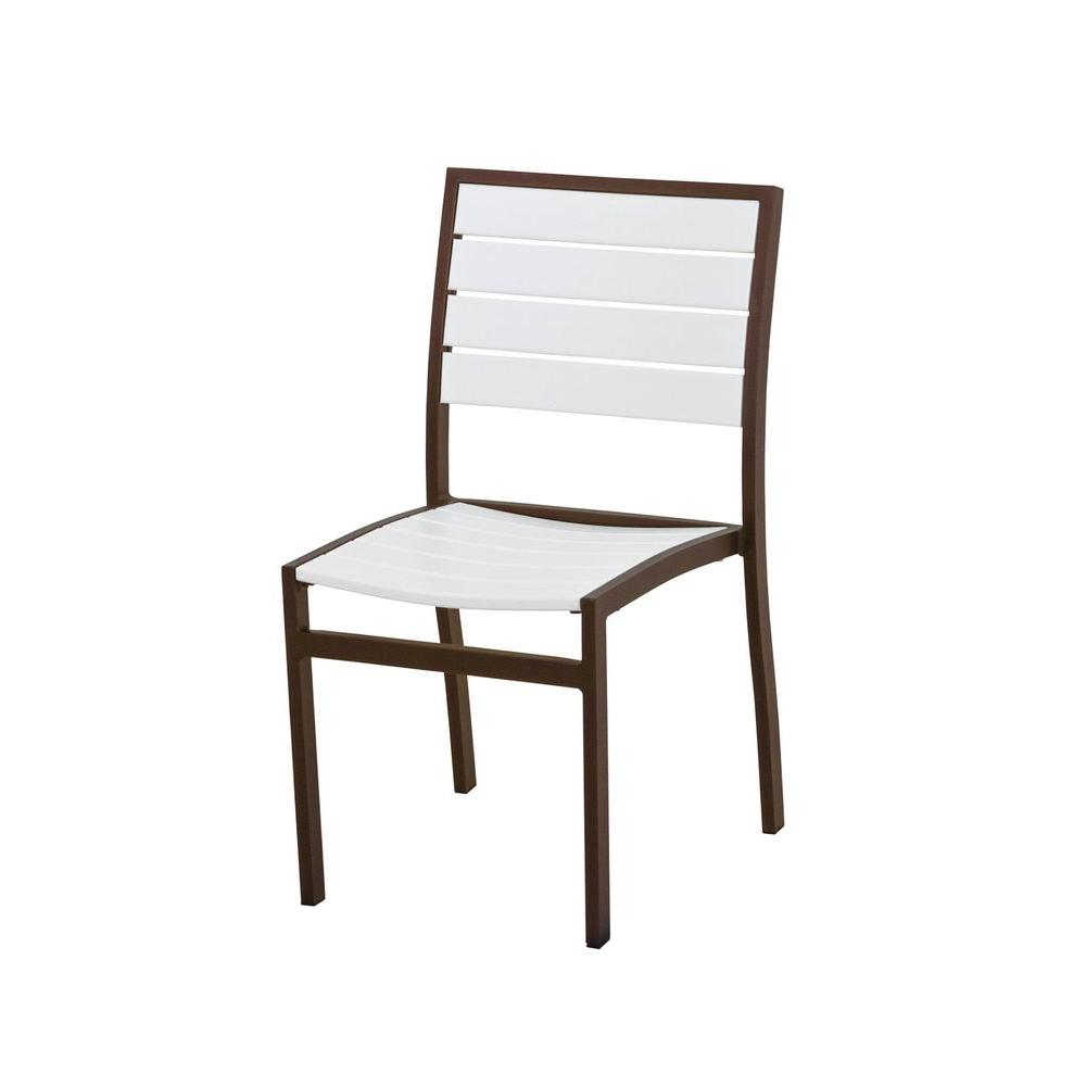 Euro Textured Bronze Patio Dining Side Chair with White Slats