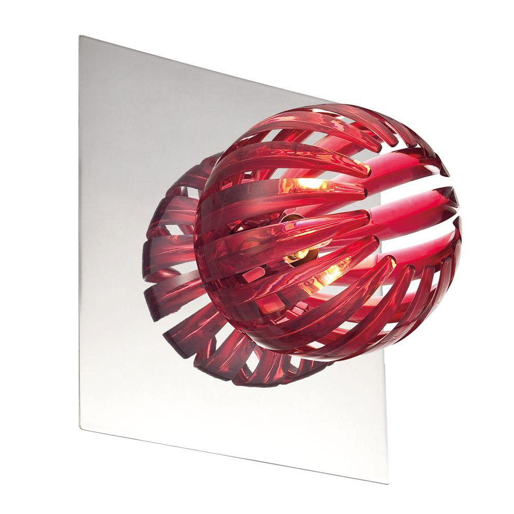 Eurofase Cosmo Collection 1-Light Chrome and Red Wall Sconce