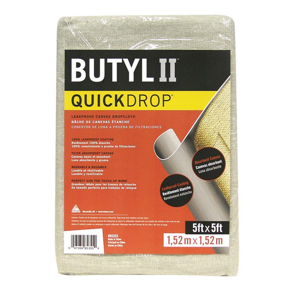 Trimaco 5 ft. x 5 ft. Butyl II Canvas Quick Drop Cloth