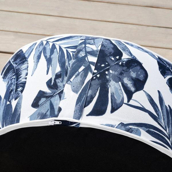 Ove Decors Marlowe Blue Leaf Oxford Polyester Outdoor Ottoman 15pot Marl01 Bl The Home Depot