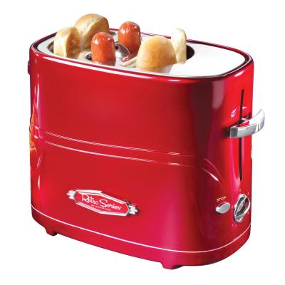 2-Slice Red Hot Dog Toaster with Crumb Tray and Mini Tongs
