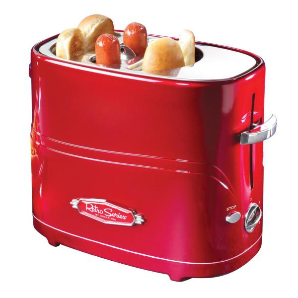 Retro Series 2-Slice Red Long Slot Hot Dog and Bun Toaster with Crumb Tray and Mini Tongs