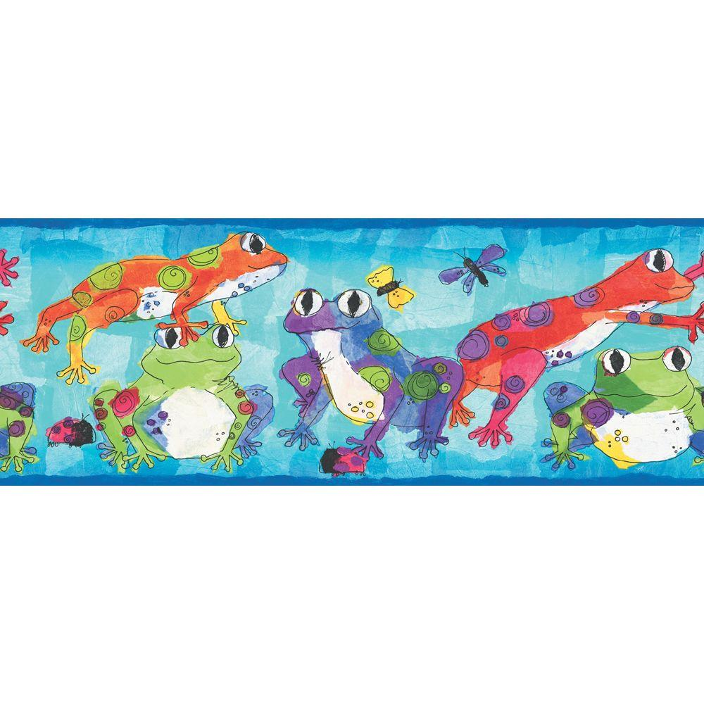 The Wallpaper Company 8 in. x 10 in. Brightly Colored Leaping Frogs Border Sample