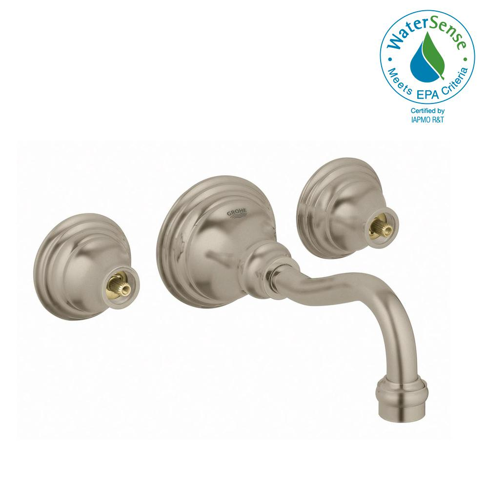 Bridgeford 2-Handle Wall Mount Bathroom Faucet in Brushed Nickel InfinityFinish