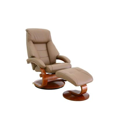 Montreal Sand Top Grain Leather Recliner with Ottoman