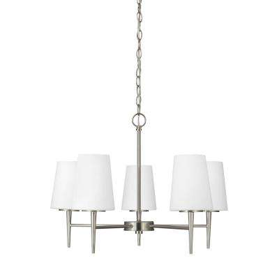 Driscoll 5-Light Brushed Nickel Chandelier with LED Bulbs