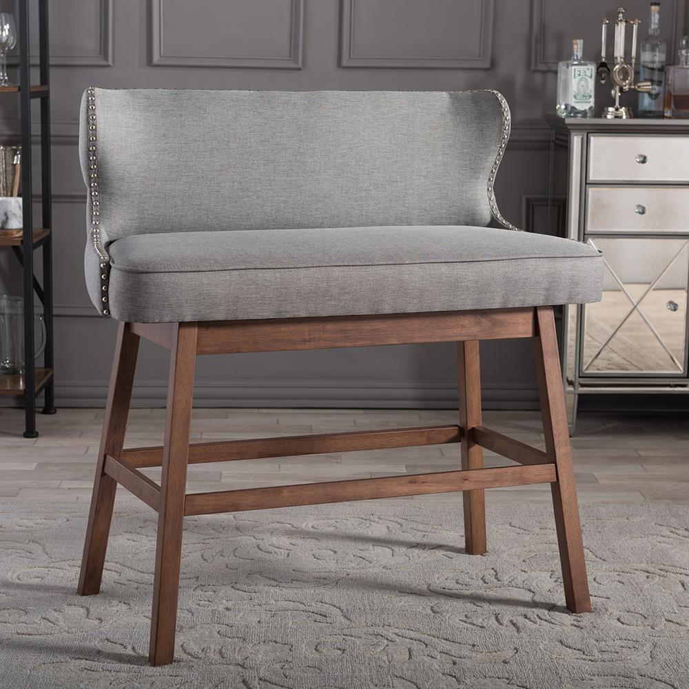 Gradisca Gray Fabric Upholstered Bar Bench