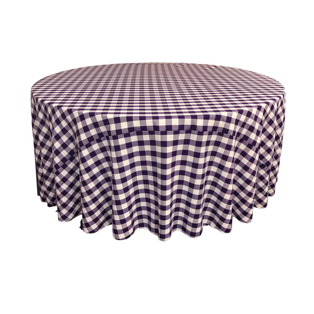 Charmant White And Purple Polyester Gingham Checkered Round Tablecloth