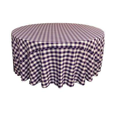 120 in. White and Purple Polyester Gingham Checkered Round Tablecloth