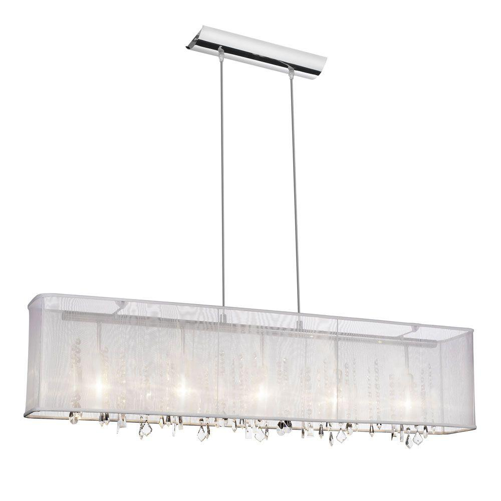 Radionic Hi Tech Bohemian 5 Light Polished Chrome Horizontal Crystal Chandelier With White Organza Rectangular